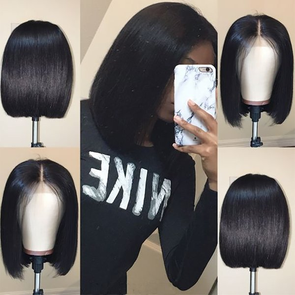Slayedwig 150% Density 13x6 Lace Front Human Hair Wigs With Baby Hair Short Cut Bob Wig Brazilian Remy Hair Natural Black For Women
