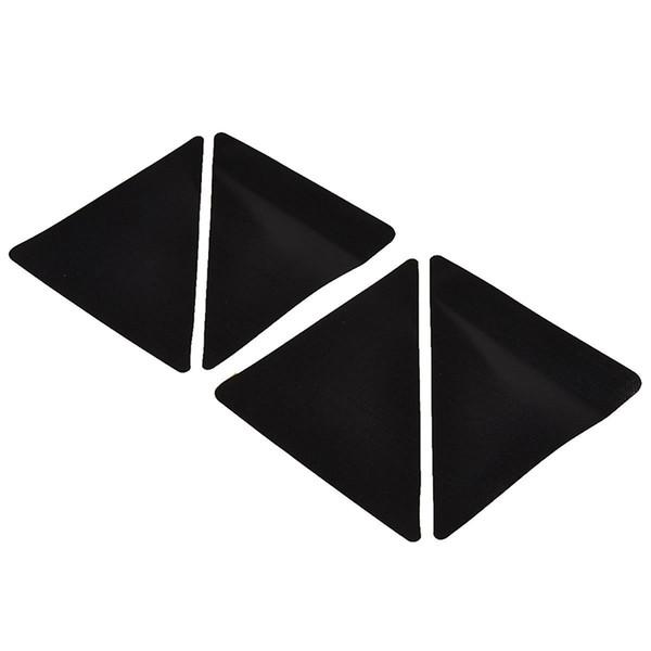 AFBC 4 pcs/set 15*7.5cm Reusable -shaped Anti-skid Rubber Floor Carpet Mat Rug Gripper Stopper Tape Sticker (Black)