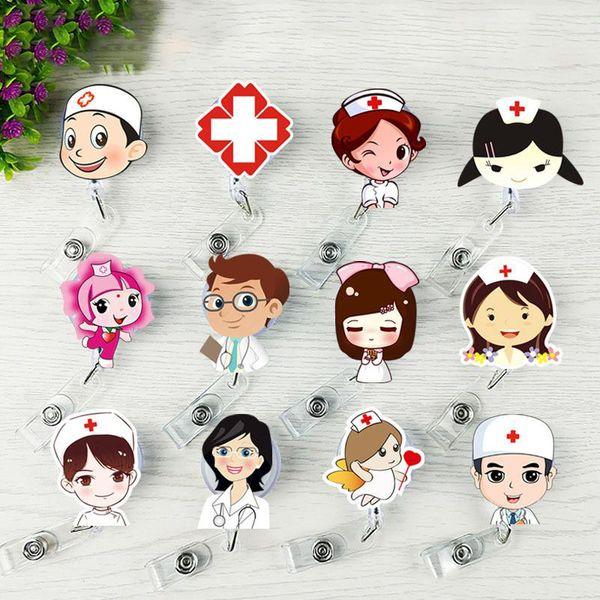Nurse Retractable Badge Reel Pull ID Card Badge Holder Belt Clip Hospital School Office Free DHL