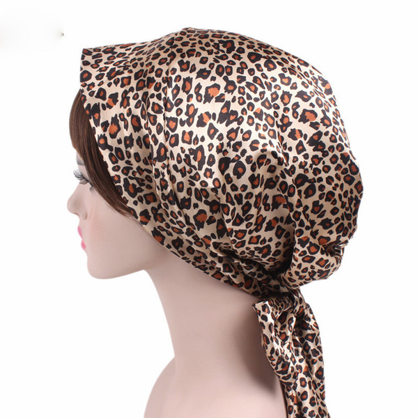 Women Printed Ribbon Headscarf Fashion Long Tail Braids Cap for Lady Cute Bow Knot Satin Burag Female Headwear