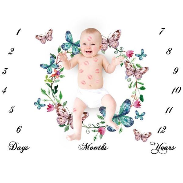 Nouveau-né Bébé Milestone Nombre Papillon Motif Couverture Couverture Photographie Fond Toile de Fond Tissu