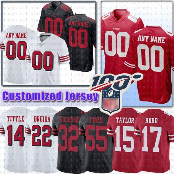 Özel San Buckner Francisco Jersey 49er Breida Ünvanı Coleman Ford Owens Taylor HURD Mullens Hyde Sanders Lott Samuel Harper Goodwin Staley
