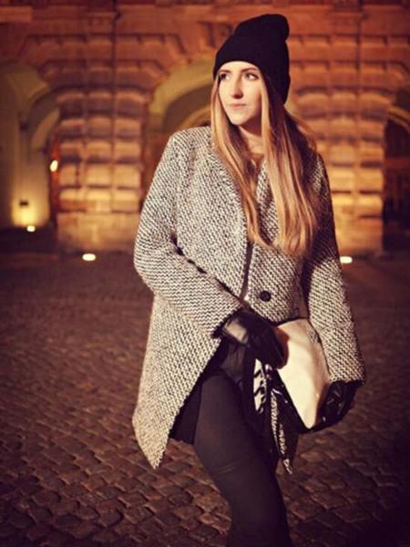 Kadınlar Kış Siper Rahat Uzun Kollu Balıksırtı Düğmesi ekose Ceket Gri Sonbahar, Yün ceket Marka Dönüş-Aşağı Yaka Palto