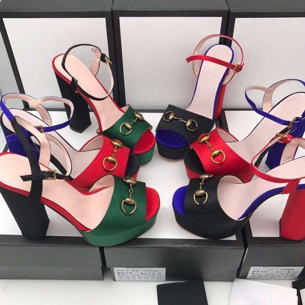 moda 2019 Fashion designer donna tacchi alti 14 cm Verde, rosso e oro partito di seta Toes Pumps Dress scarpe scatola originale