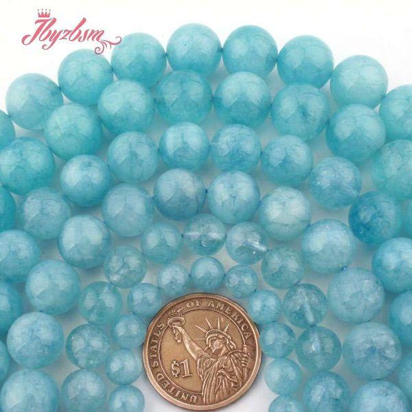 8,10,12,14mm Liscio rotondo perline blu acquamarina quarzo perline di pietra per fai da te collana bracciali monili che fanno 15
