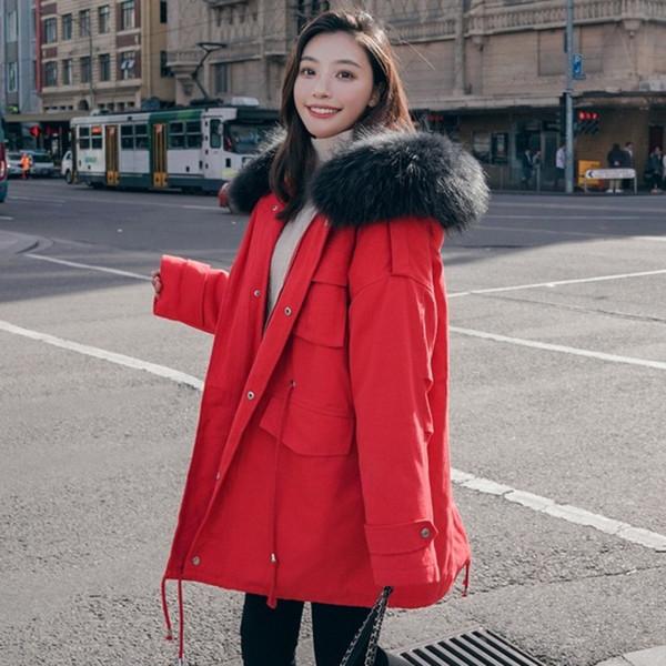 2019 coreano Nuovo formato più grande collo di capelli medio lunghi Work Clothes inverno del rivestimento delle donne più spesso tasca Vintage Cotone B544 Coat