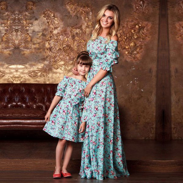 Mother Daughter Clothes Print Half Sleeve Dresses Family Matching Outfits Ankle-length Mini Dress Family Look Vintage Clothing Y19051103