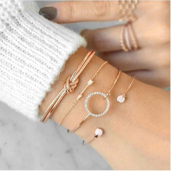 4 Pcs/ Set Classic Arrow Knot Round Crystal Gem Multilayer Adjustable Open Bracelet Set Women Fashion Party Jewelry Gift