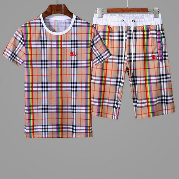 İtalyan moda markası milan spor takım elbise erkek spor takım elbise spor gömlek yuvarlak yakalı elbise + şort pantolon. M - 3 xl-W1
