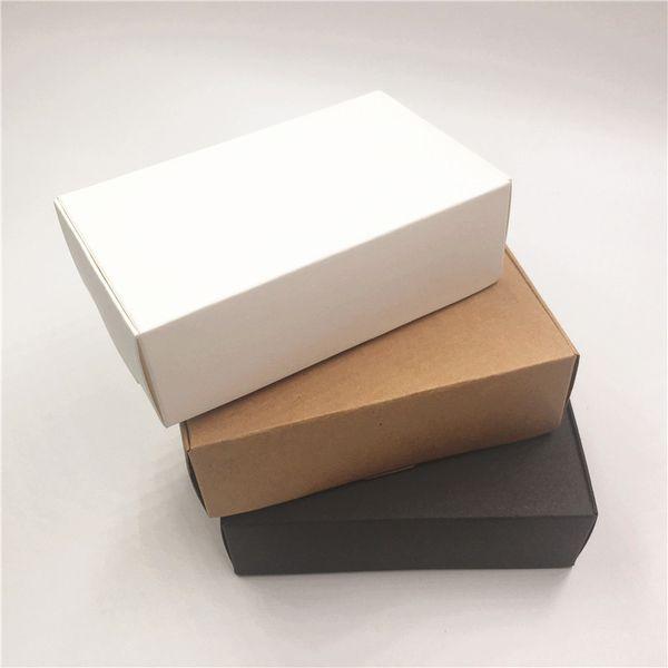 12pcs / lot boîtes de papier kraft Nice Pure White / Black / Brown boîtes de Kraft Party Candy Cookies Emballage cadeau