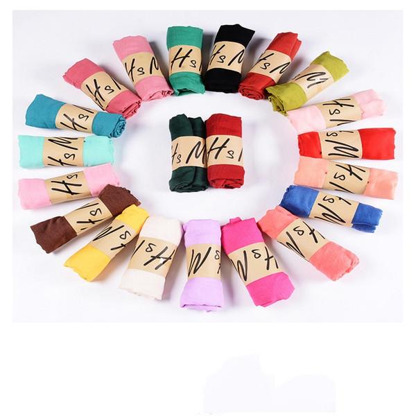 37 цветов Нового хлопок белье шарф сплошного цвета Monochrome Красочных конфеты 10pcs / серия шелкового шарфа Красивых женщины Подарок шарф шарфы
