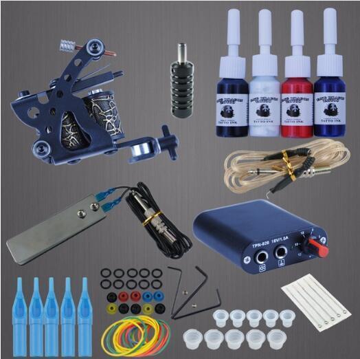 Kalıcı Makyaj Makine Dövme Acemi Setleri 8 Wrap Bobinler Guns Dövme MachineSet Siyah Pigment Güç Kaynağı Tatto Malzemeleri ayarlar