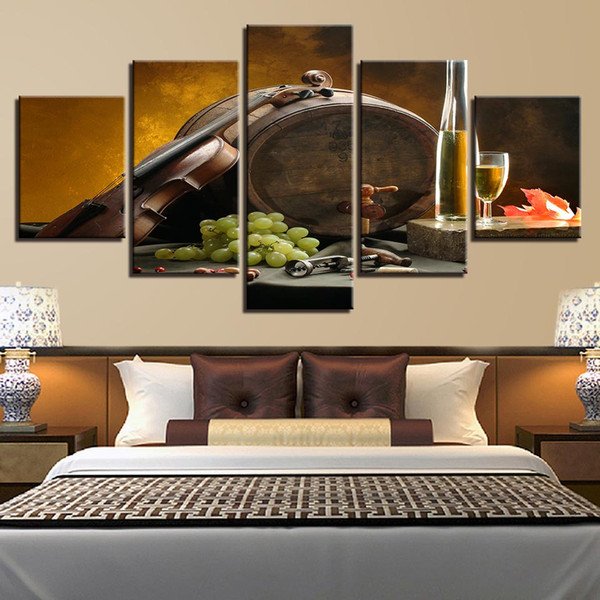 Canvas Paintings Kitchen Wall Art 5 Pieces Wine Glass Oak Barrels Pictures HD Prints Grape Violin Posters Home Decor No Frame