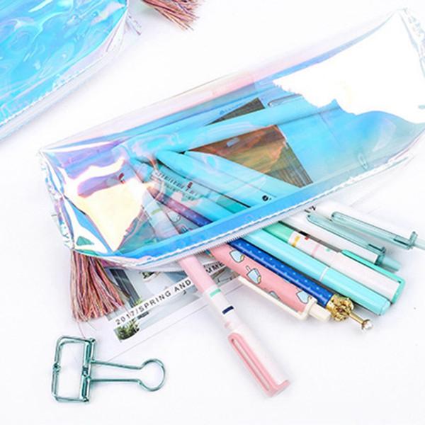 1 Pcs Kawaii Pen transparent Cas créatif Laser Crayon Cas Sac Crayon de couleur mignon pour enfants école cadeau Fournitures Pencilpouch