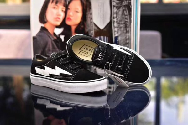 Newest Revenge x Storm Sneakers Pop up Store Top Quality Old SKool Off Fashion Grid Men Skateboard Vulcanized Ins Canvas Shoes 36-44