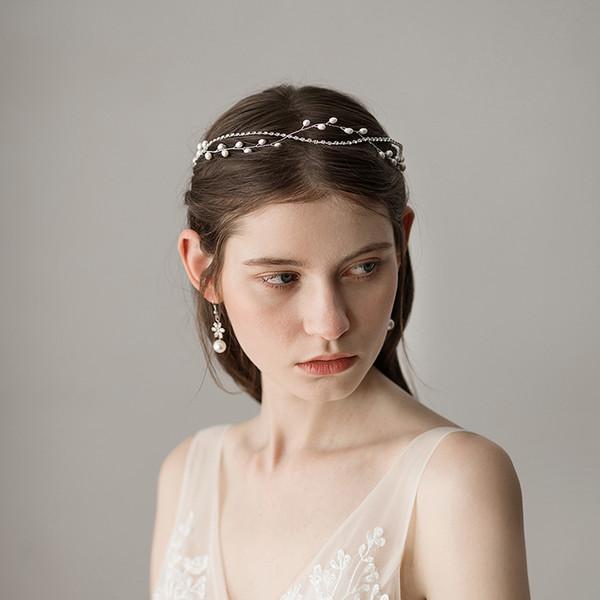Romántico Fairy Silver Pearls Nupcial tocados Ocasiones formales Accesorios para fiestas Bandas para el cabello Coronas de novia Desgaste