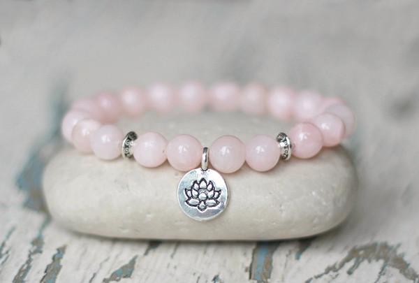 2019 NOUVEAU STYLE NATUREL Rosequartz Yoga Bracelet Fleur De Lotus Bracelet Confiance En Elle Amulette Femme Cadeau Pour Fille Poignet Charme