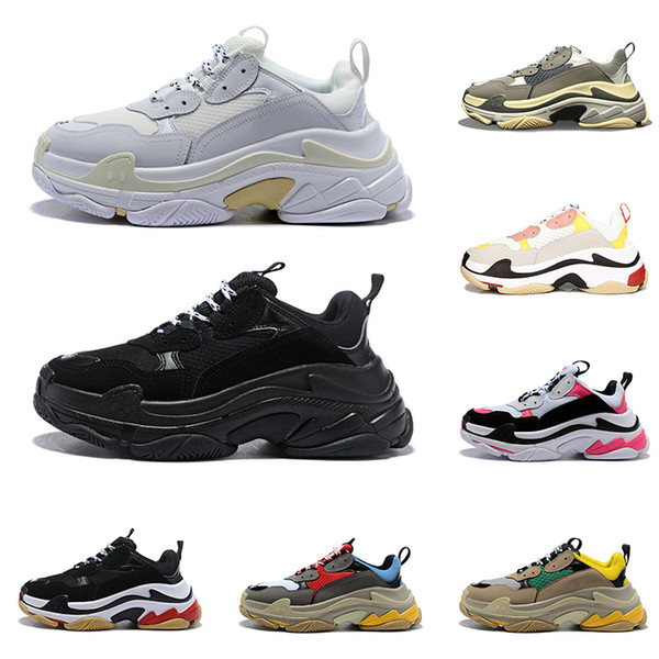 2019 designer shoes Triple S for men women sneakers pairs 17FW black white red pink mens trainers fashion casual dad shoe increasing sneaker