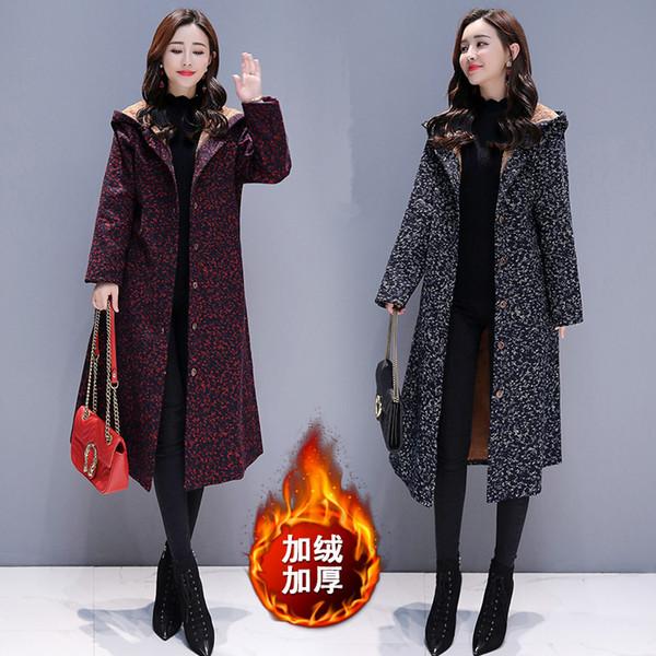 Womens plus size coat winter long trench coat Overcoat woman cotton coats hooded Cotton linen Add wool warm Padded B4263