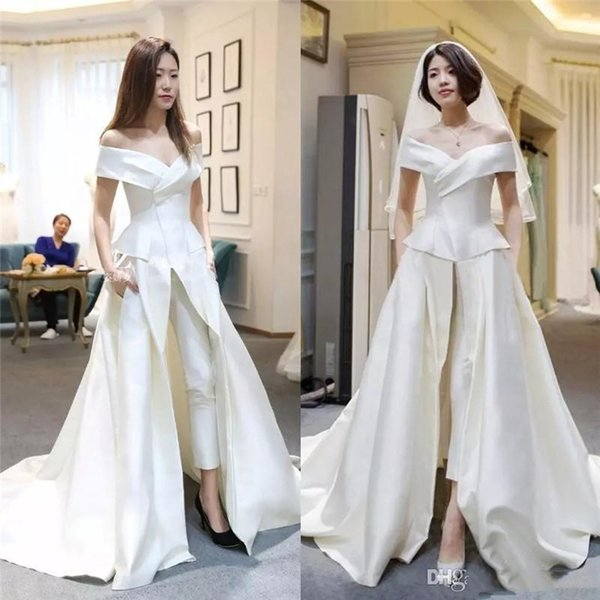 Elegant Zuhair Murad Women Prom Dresses New 2019 Pant Suits Off Shoulder Front Slit Formal Satin Evening Party Gowns Long Train New 2019