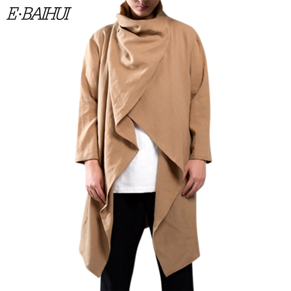 E-BAIHUI Men Trench Windbreaker Cotton Long Sleeve Scarf Collar Hip-hop Jacket Coats Men Cloak Outerwear Punk Style Streetwear