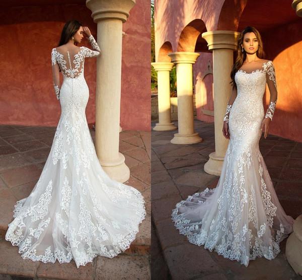 2019 Robe de mariée sirène dentelle élégante appliquée avec Tulle manches longues robes de mariée robes de mariée Illusion robe de mariee