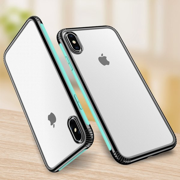 For Iphone XR XS MAX X XS 10 Colorful Hard Plastic+Soft TPU Case Bumper Frame Silicon Crystal Cell Phone Designer Luxury Brand Gel Cover