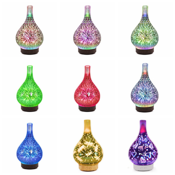 3D Fireworks LED Night Light Air Humidifier Glass Vase Shape Aroma Essential Oil Diffuser Mist Maker Ultrasonic Humidifier Gift RRA1678