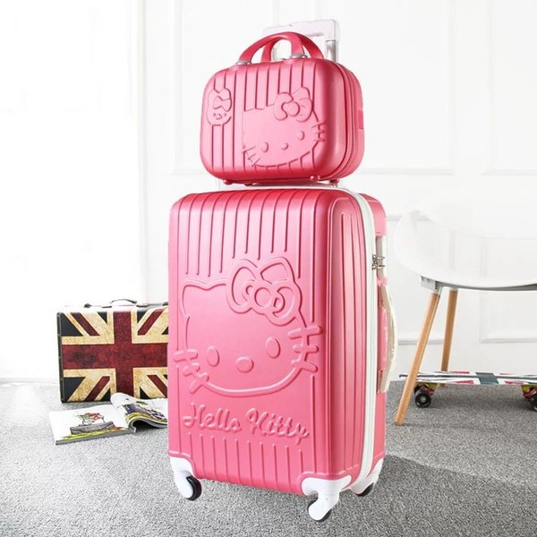 cute Cartoon 14 inch Cosmetic bag hello Kitty 20/24 inches girl students Anime Trolley Suitcase Travel bag women Rolling Luggage