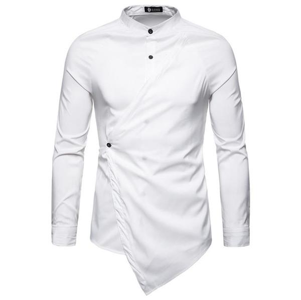 New fashion shirt men Asymmetrical Slanting Doors men shirt Casual Stand Collar Long Sleeve Shirt 4 color free shipping wholesale