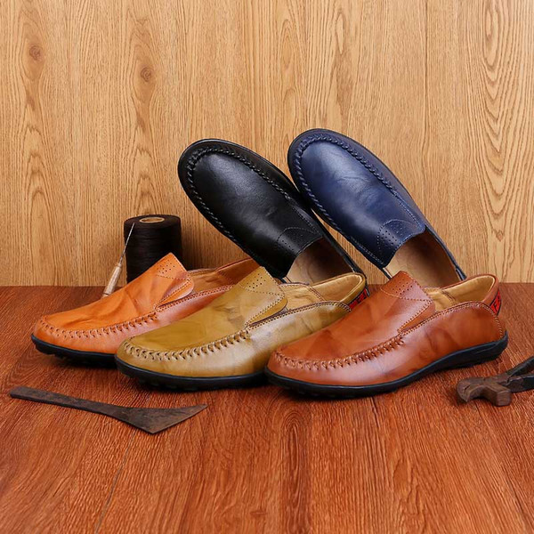 Masorini Fashion Men's Shoes Casual Big Size 36-47 Holes Loafer Design Driving Men Flat Footwear Handmade Shoes WW-481