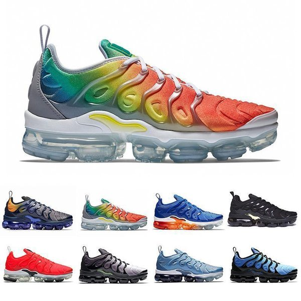 2019 Rainbow Tn Plus Cushion Running Shoes Game Royal Hyper Violet Red Shark Tooth Triple Black Designers Sports Sneakers 36-45