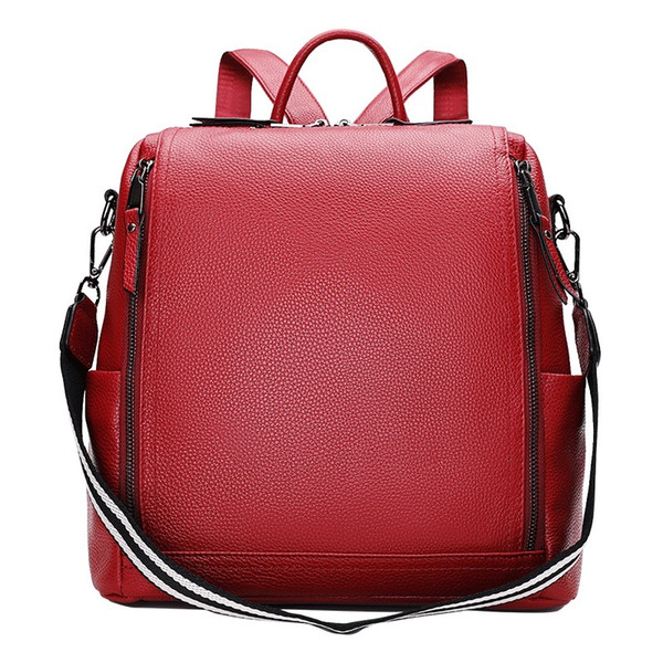 New Woman Shoulder Bag Striped Lanyard Strap Girls Bag Back Genuine Leather Zipper Closure Female Red Purse Lady Travel Backpack