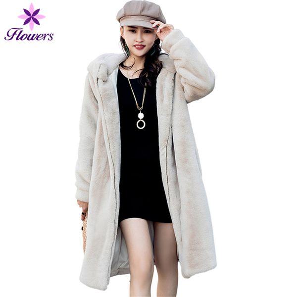 Winter Jacket Women New Korean Imitation Fur Coat Loose Hooded Plus Size High Quality Thick Warm Rex Rabbit Fur Long Coat female