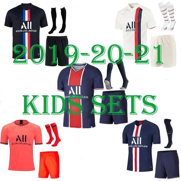 top popular 2019 2020 2021 mbappe kids soccer jerseys VERRATTI maillot de foot 19 20 21 SARABIA CAVANI DI MARIA survetement child youth football shirt 2020