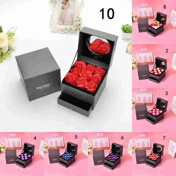 Soap Rose Gift Boxes Jewelry Packaging Necklace Holder with Soap Roses Flowers Valentine's Day for Lover Wooden Pendant Package