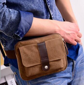 1New Мода Повседневная Маленькая Талия Холст Мужчины Небольшая Сумка Мобильный Телефон Мини Карманы