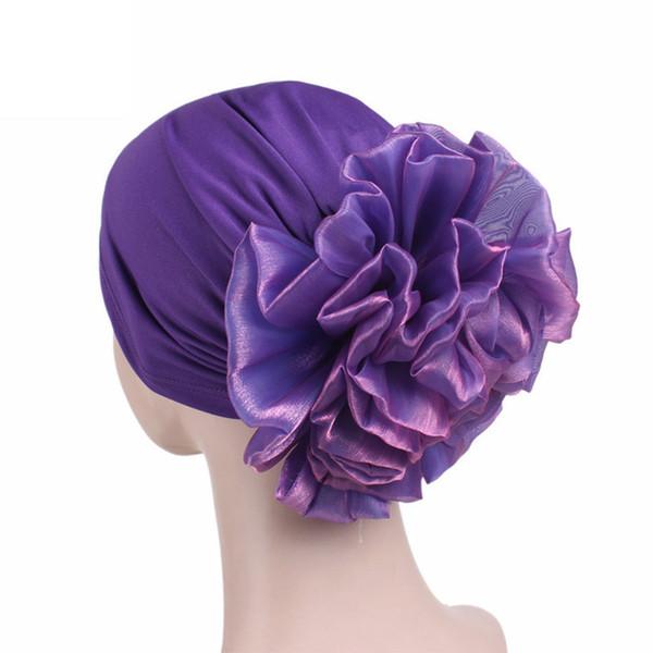 Quimioterapia Wrap Cap Mujeres Sombreros Accesorios Casual Multifunción Lado Gran Flor Suéter Tela Elástica Turbante banda suave