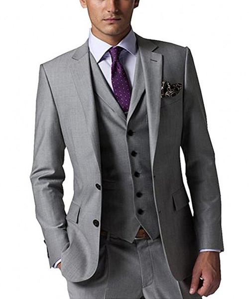 New Fashion Groom Tuxedos Light Grey Groomsmen Custom Made Side Vent Best Man Suit Wedding/Men Suits Bridegroom (Jacket+Pants+Tie+Vest)