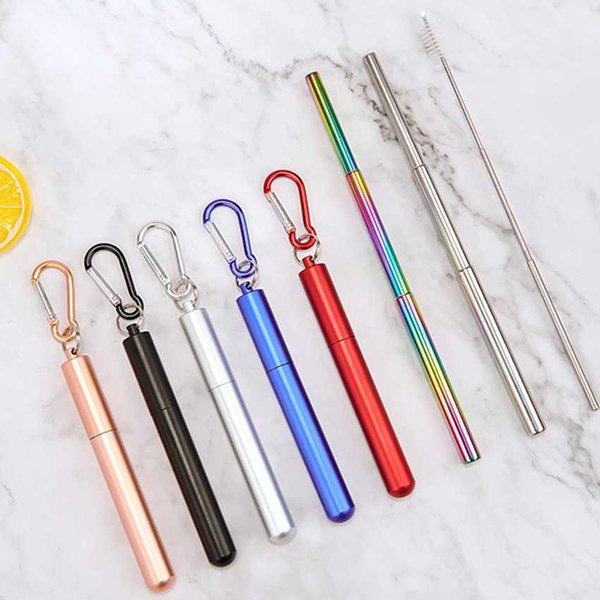 best selling FDA Portable Reusable Drinking Straws Keychain Stainless Steel Metal Telescopic Straws with Aluminum Case & Cleaning Brush ZZA1823
