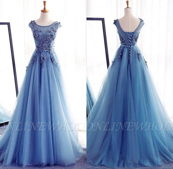 Princesa Azul de Gelo 3D Apliques Vestidos Quinceanera Lace-up Voltar Sweep Train Vestidos de Festa À Noite Prom Vestido BC1815