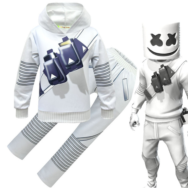 Marshmello DJ meninos roupas 2019 Primavera Outono Impressão Hoodies Tops + calças com conjuntos de máscara de moda crianças ternos Conjuntos de Roupas Infantis C6475