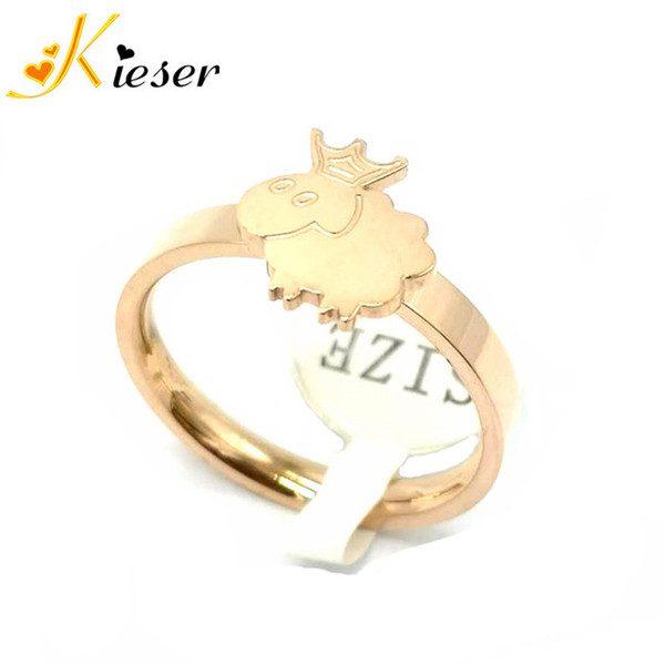 Dongdaemun Korean fashion titanium steel rose gold crown sheep ring female Q version cartoon zodiac jewelry