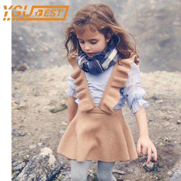 Spring 2019 Girls Knit Sweater Dress Girl Kids Clothes Baby Girls Knitting Princess Dress Kids For Girl Robe Fille Kids Clothing J190709