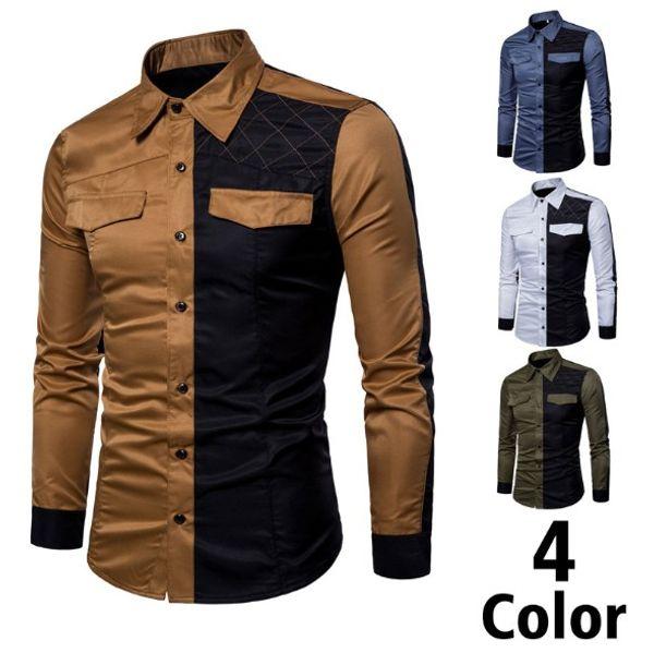 Erkek Casual Gömlek İlkbahar ve Sonbahar Erkek Colorblock Uzun Kollu Gömlek Ince Büyük Boy Gömlek Asya Boyutu M-3XL