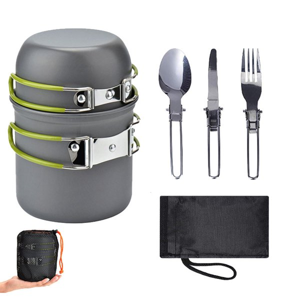 Outdoor Camping Hiking Tableware Aluminium Foldable Portable Camping utensi Cutlery Set Include Knife Fork Spoon Cook Picnic for 1~2 person