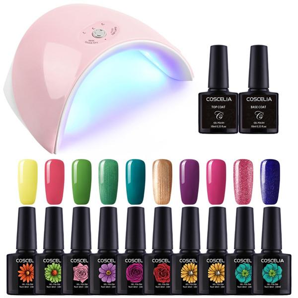 36W UV LED USB лампа сушилка для ногтей 10 Цвет УФ гель лак для ногтей набор Маникюр машина Art Tools Set Top Base Coat Лак Праймер