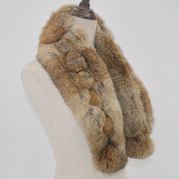 Winter Hot Sale 2019 Real Rabbit Fur Scarf Women Natural Real Rabbit Fur Ring Scarves 2 Balls Genuine Rabbit Fur Neckerchief