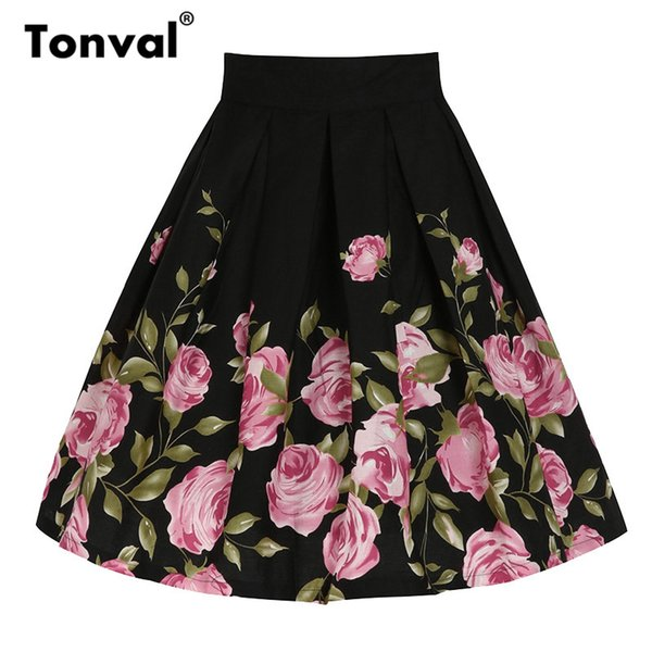 Tonval Cotton Vintage Plus Size Skirts Womens Flowers Black Pleated Swing Skirt Femme Floral Print Midi Retro Skirt J190619