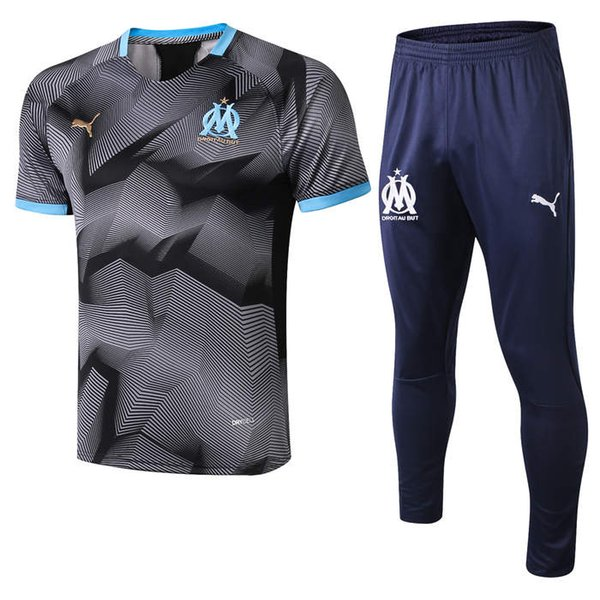 top popular abcd New 2019 polo Olympic Marseille Tracksuit Soccer Jogging Football Tops Coat Pants Sports Training 19 20 Suit Men OM Football tracksuit 2019